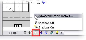 21 Set the West Elevation current. On the Drawing Window View toolbar, click the Shadow icon.