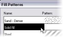 6 Select Solid Fill for the fill pattern. 7 Click OK to close each dialog box and return to the drawing window.
