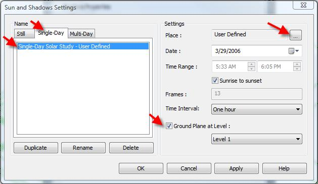 5 In the Advanced Model Graphics dialog box: Select the Cast Shadows check box. Click the Sun and Shadows Settings button. 6 In the Sun and Shadow Settings dialog box: Click the Single-Day tab.