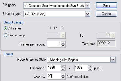 through the study. Export the Sun Study to an AVI File With the sun study parameters set and previewed, you are ready to export the sun study to a movie format file.