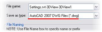 6 Verify that Save as Type is set to AutoCAD DWG 2007 format. Click Current View. Accept the other default values in this dialog box. Click Save. Choose a location to save your exported model.