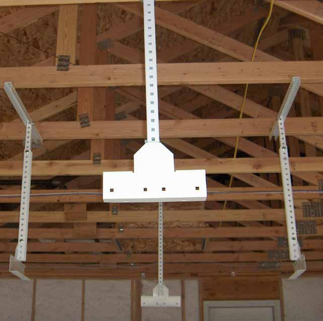 Each ceiling mount is designed to be fastened to two ceiling joists except for