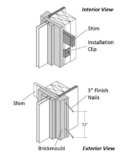 On units with factory applied casing or brickmould apply a heavy bead of caulk (3/8 is sufficient) to the back side of the casing near the outer edge.