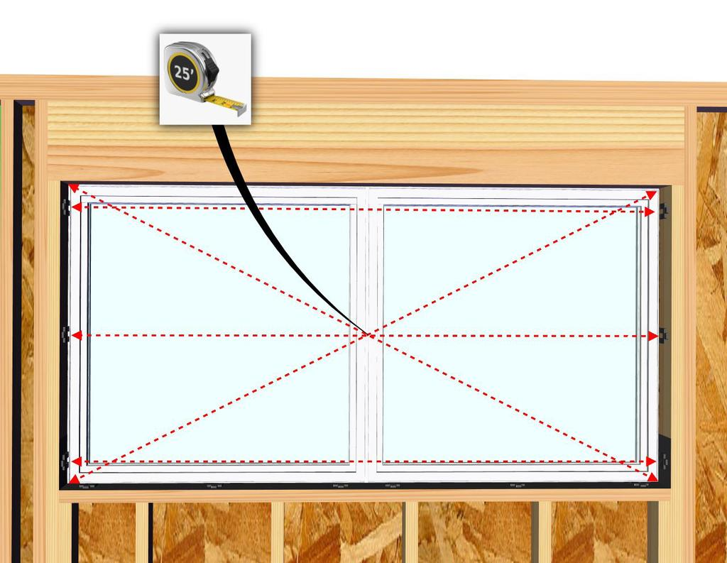 Center and set the window into the rough opening, making sure there are equal gaps on both sides of the window.