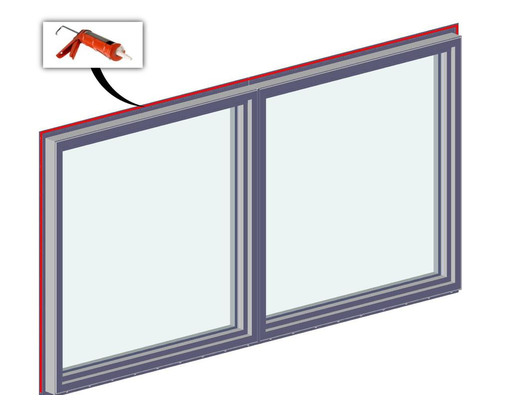 6 Level at the sill and plumb the frame (interior/exterior). Shim under each side of window to bring to level if necessary. Place additional shims under each mullion and sliding window interlock.