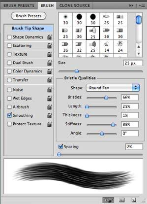Brushes Panel Texture Count Number of brush marks at each spacing interval.