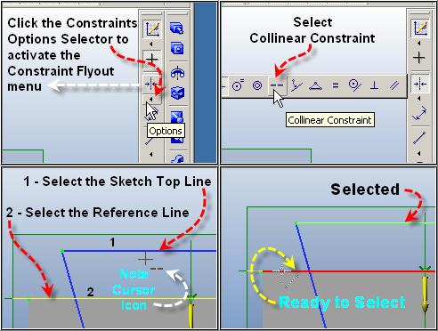 Step 9 Constrain Top Lines Collinear Mouse over the triangle (Options) below the Constraints Icon in the