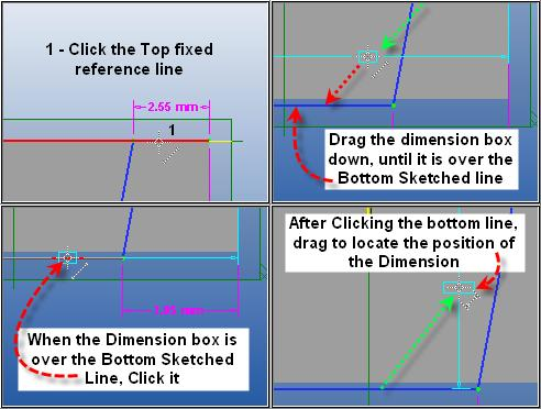 Step 12 - Dimension Bottom Line offset. Begin by (dimension still selected) clicking the fixed reference line at the top edge.
