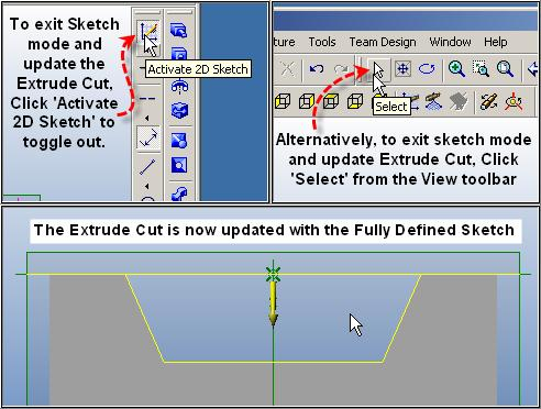 Step 13 Exit Sketch, Update Extrude Cut, Re-Save To exit the sketch either Click the toggle of Activate 2D
