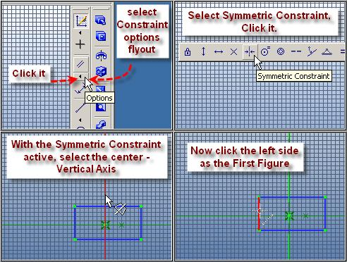 Step 3 Center the Rectangle Symmetrically From the Sketching Toolbar, Click the Constraints Options Flyout, Click Symmetric Constraint.