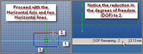 Press ESC to Cancel Click the Vertical Axis as the axis of symmetry for the Symmetric Constraint A reference line is created that is co-located with the vertical axis.