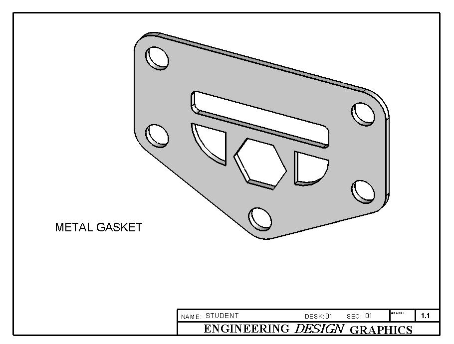 Now SAVE your drawing sheet to your directory as METAL GASKET.slddrw. Take note that the title of the part and the drawing are the same but the extension has changed.