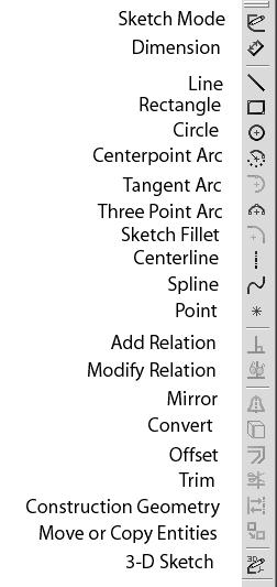 The Standard View toolbar allows you to select Front, Back, Left, Right, Top, Bottom, Isometric, and Normal Views Sketch toolbar is shown in Figure 1-8.