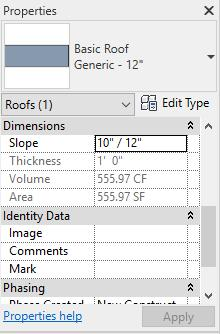 12 If you would like to change the height of the roof, you can change the first number in the Slope dimension under the Properties tab.