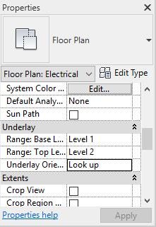 20 Then, go back to the Electrical 1 floor plan and go to the Properties tab. Change the Range: Base Level from None to Level 1 and change the Underlay Orientation to Look up.