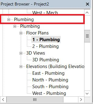 24 To create a plumbing plan, make sure you are working under Plumbing and not HVAC. You can insert plumbing fixtures using the same Load Family function you used to insert furniture and lighting.