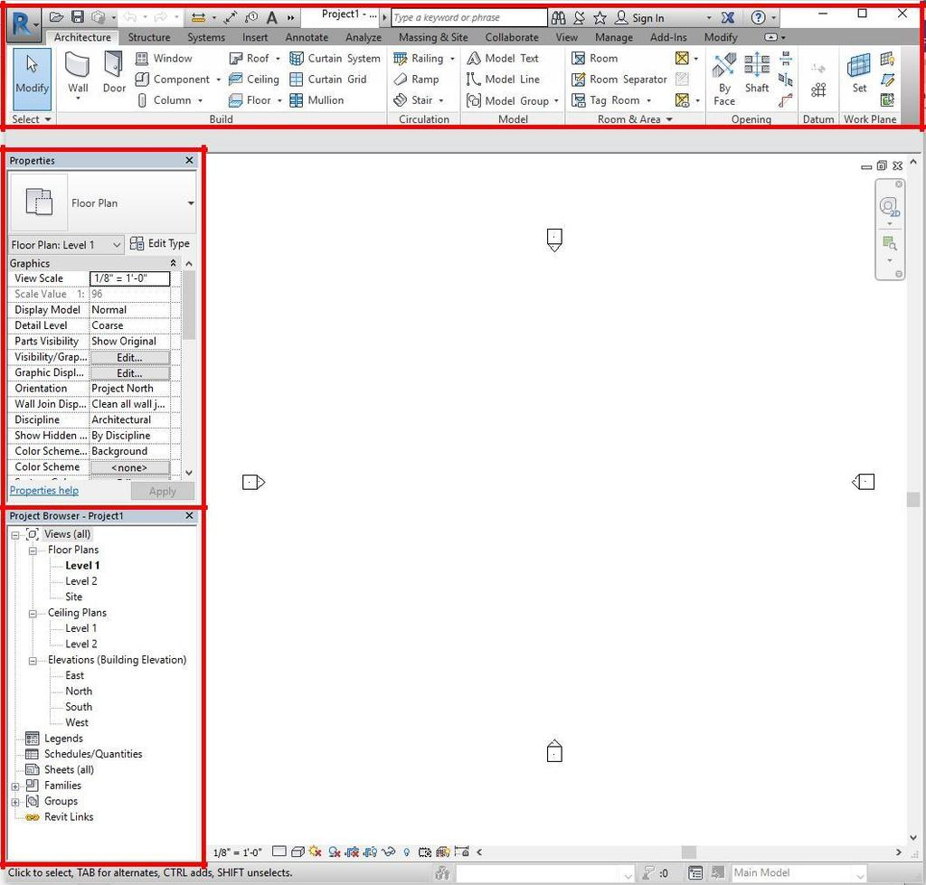 3 1. Introduction Open Revit. Under the home page, there is a column on the left side labeled Projects. Select Architectural Template. Each template is for a different type of design.
