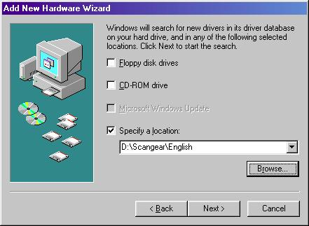 If you use the English version (uni-language) CanoScan Setup CD- ROM, select the CD-ROM drive then click the Next button.