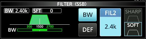 RECEIVING AND TRANSMITTING Selecting the IF filter SSB, CW, RTTY and AM modes The IC-9700 has IF filter passband widths for each mode, and you can select them on the FILTER screen.