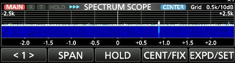 SCOPE OPERATION 5 Spectrum scope screen The spectrum scope enables you to display the activity on the selected band, as well as the relative strengths of various signals.