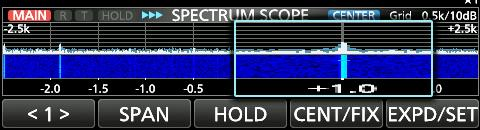 5 khz DDTouch screen operation When you touch the FFT scope zone or the waterfall zone in the SPECTRUM SCOPE screen, the area will be zoomed in.