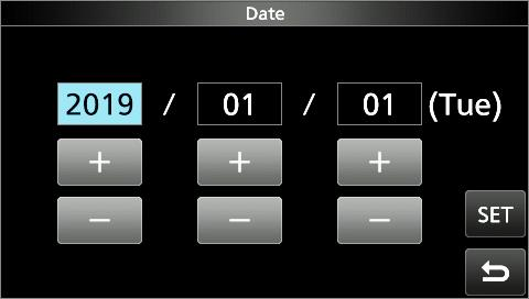 CLOCK 9 Setting the date and time DDSetting the date. Open the Date screen. MENU» SET > Time Set > Date/Time > Date 2. Touch [+] or [ ] to set the date.. Touch [SET] to save the date.