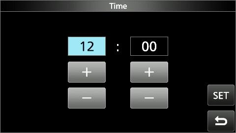 . Touch [SET] to save the time.. To close the DATE/TIME screen, push EXIT several times. DDSetting the UTC offset. Open the UTC Offset screen. MENU» SET > Time Set > UTC Offset 2.