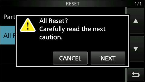 If the problem still exists after a Partial reset, perform an All reset, also described to the right. NOTE: An All reset clears all data and returns all settings to their factory defaults.