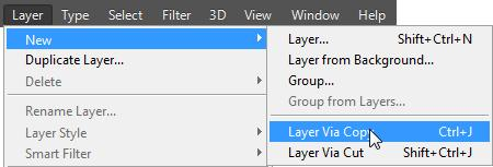 2) Select the upper rectangle in the image using any method learned previously. 3) From the menu select New and then Layer via Copy [Ctrl] [J].