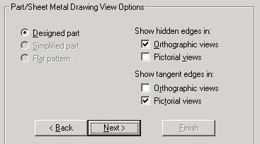 From the next dialogue box, which appears determines whether or not hidden detail or tangent edges are displayed.