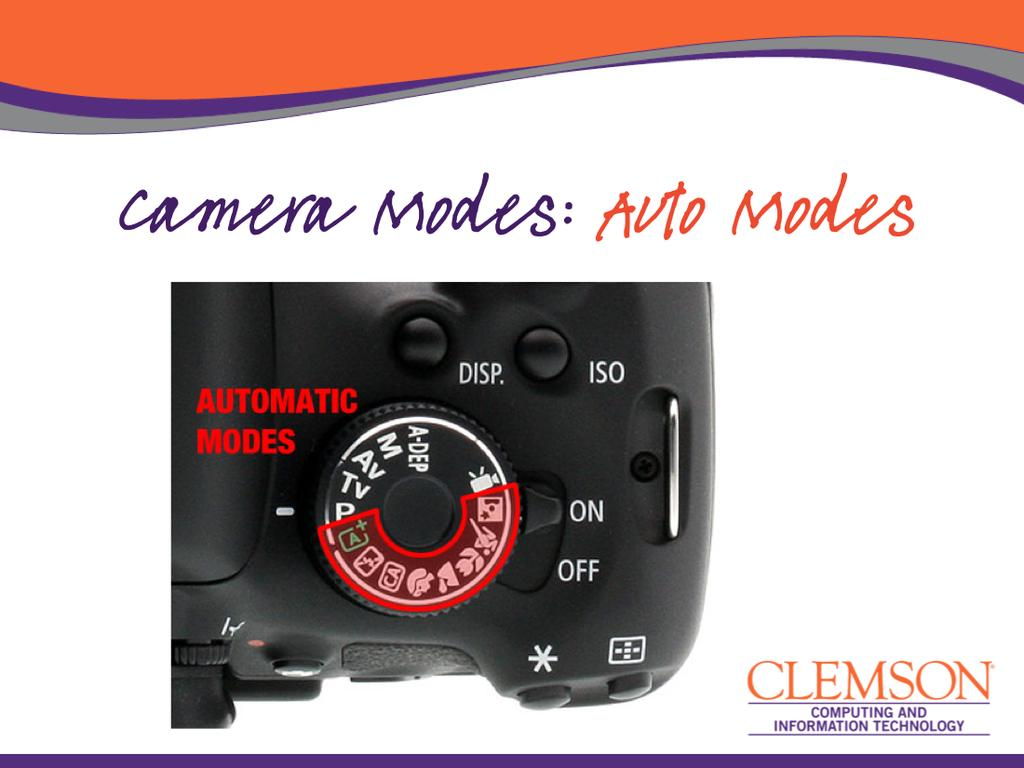 The main mode selec3on dial of the camera has a number of op3ons to choose from.