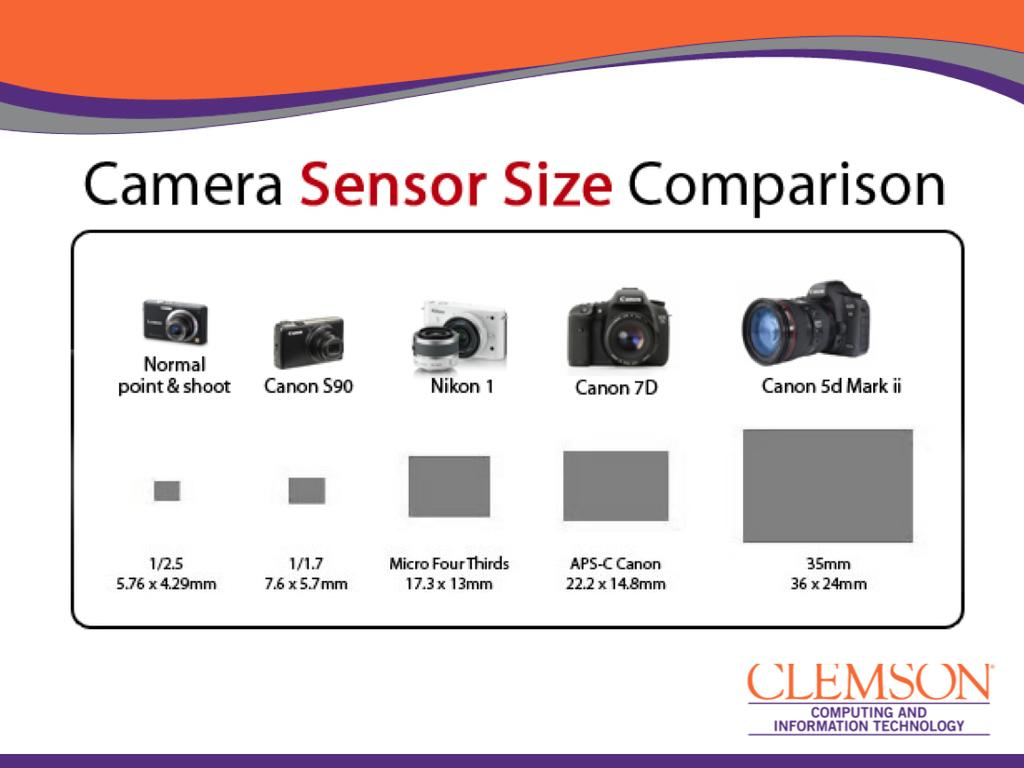 This offers a good comparison of typical sensor sizes for various cameras on the
