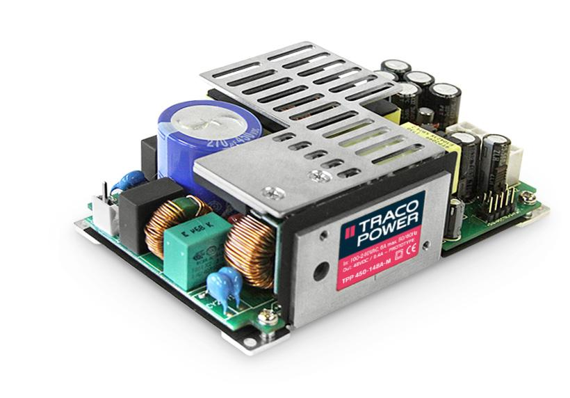"AC/DC Medical Power Supplies High power density 3"" x 5"" open frame medical power supply 450 Watt with forced air cooling 320 Watt convection cooled without derating up to 50 C Medical certification"
