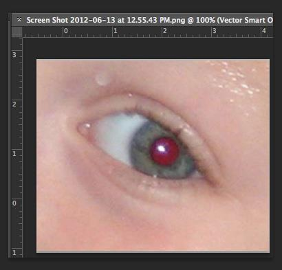 1. Open a photo you wish to correct. 2. Select the Zoom Tool from the Toolbox. Click and drag a rectangle around the eye (Figure 21). Figure 21. Red eye zoomed in 3.