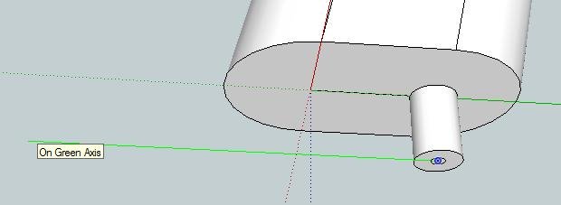 Use the Arc tool to draw a line along the green axis (a green line will