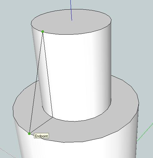 11. Use the Line tool to draw a vertical line starting from the line that you drew earlier on the cylinder top.