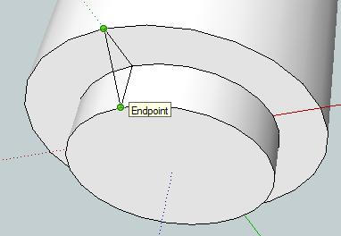 24. Select the Arc tool and draw a line from one endpoint to the other (green
