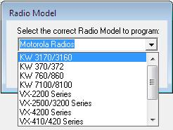 Radio Model: Select the radio model by clicking on the Radio Model button in the tool bar.