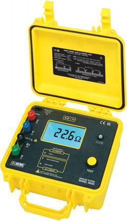 AEMC Ground Resistance Testers Digital Ground Resistance Tester Models 4620 & 4630 4630 Measures soil resistivity (4-Point) method Measures ground resistance (2- and 3-Point) Fall-of-Potential method