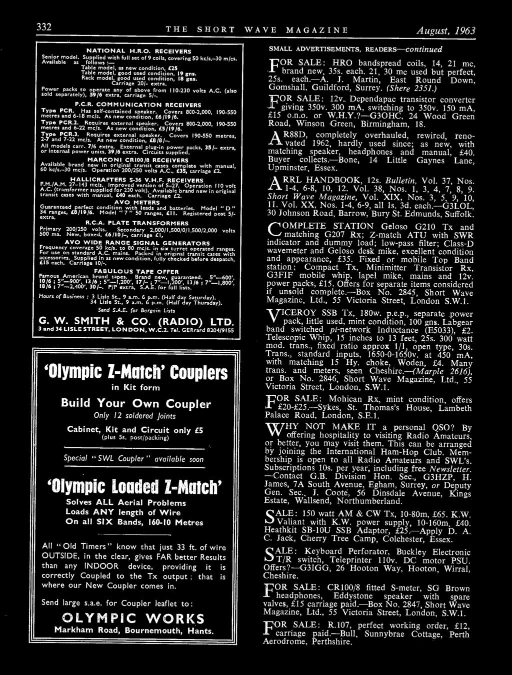 Kwmow Hm Electronics For All Your Amateur Radio Requirements Ler Far Circuits Bitx20 Circuit Board Fabrication 332 The Short Wave Magazine August 1963 National Hro Receivers Senior Model Supplied With