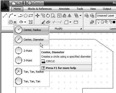 1-22 AutoCAD LT 2009 Tutorial Creating Circles The menus and toolbars in AutoCAD LT 2009 are designed to allow the CAD we can also select the different Draw commands through the Menu Browser.