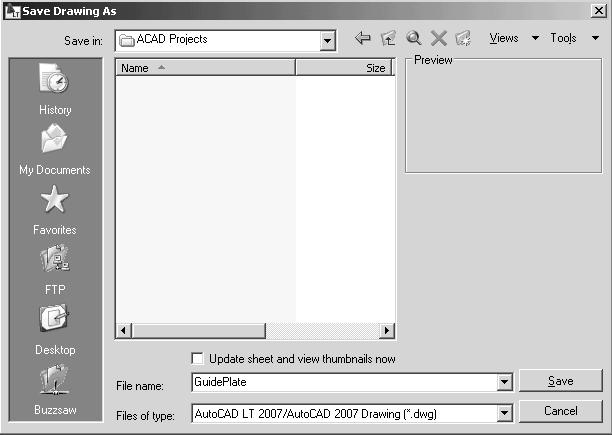 GuidePlate in the File name box. Select the folder to store the file Enter GuidePlate 3.