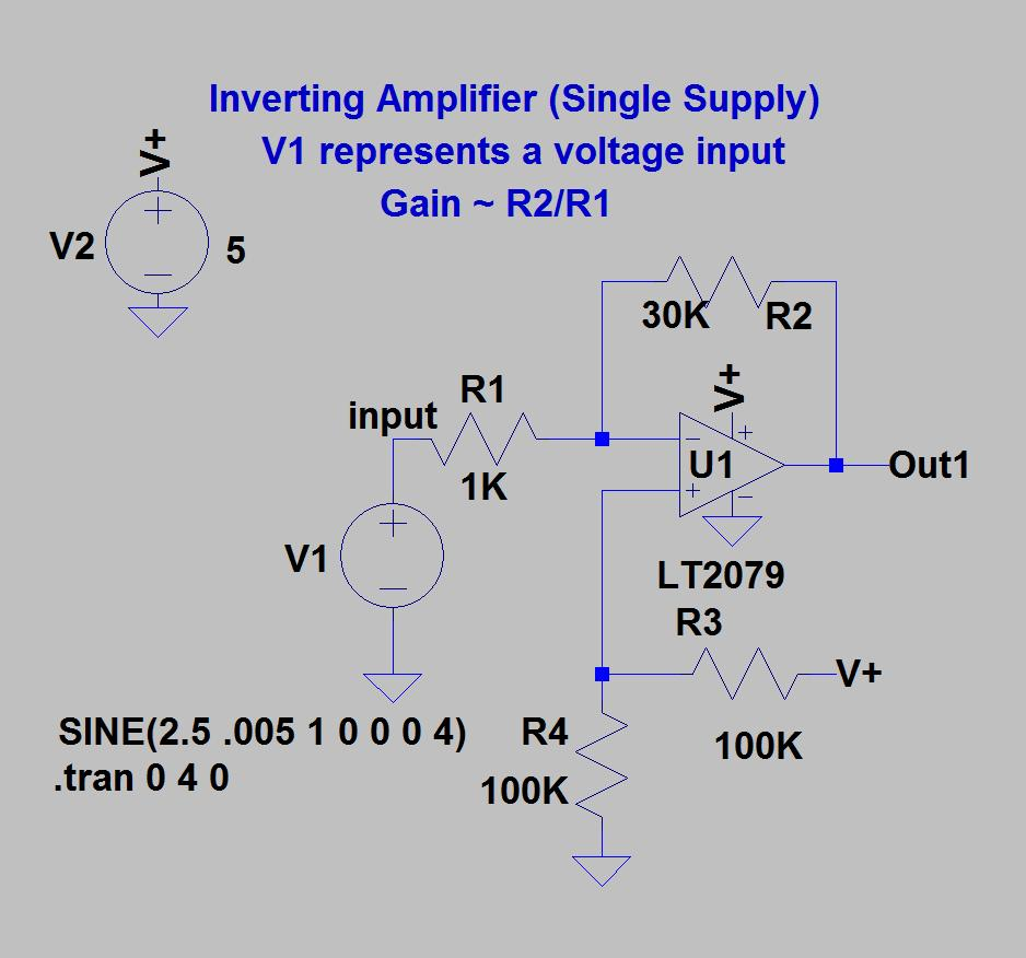 Single Supply Op Amp Circuits Dr Lynn Fuller Webpage Pdf Block Diagram Inverting Amplifier Examples Offset The Two 100k Resistors Create An