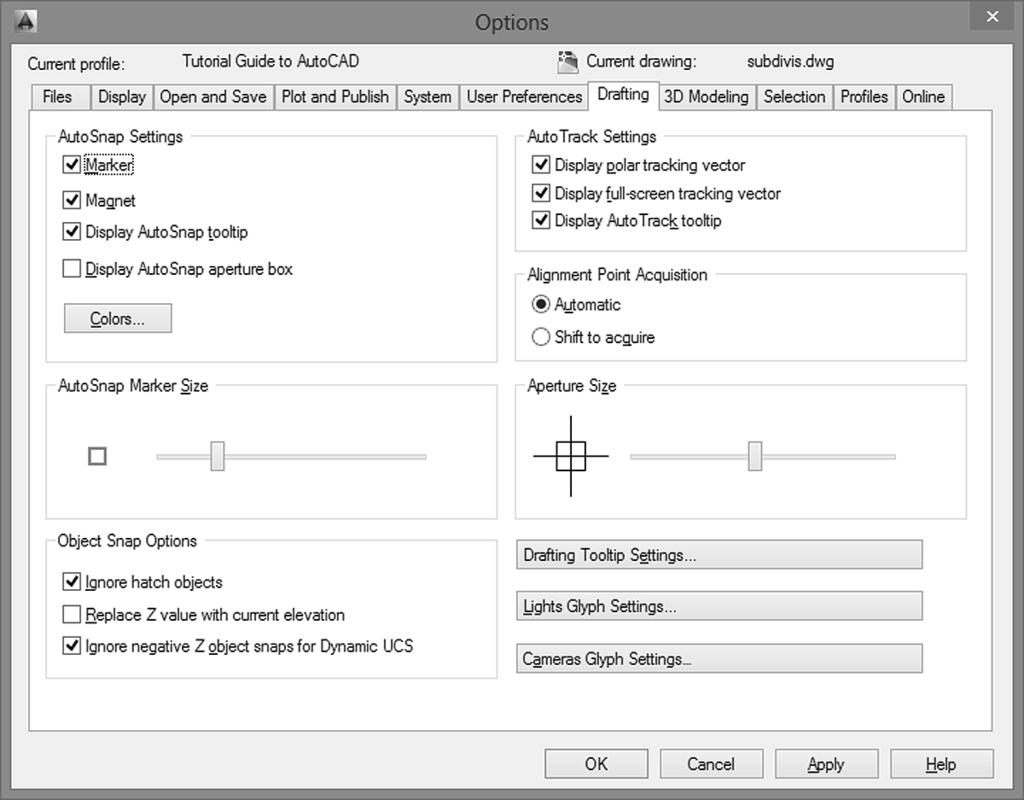 USING OBJECT SNAP 69 The Options dialog box appears on your screen as shown in Figure 2.19. You can use it to change Marker size, color, and settings.