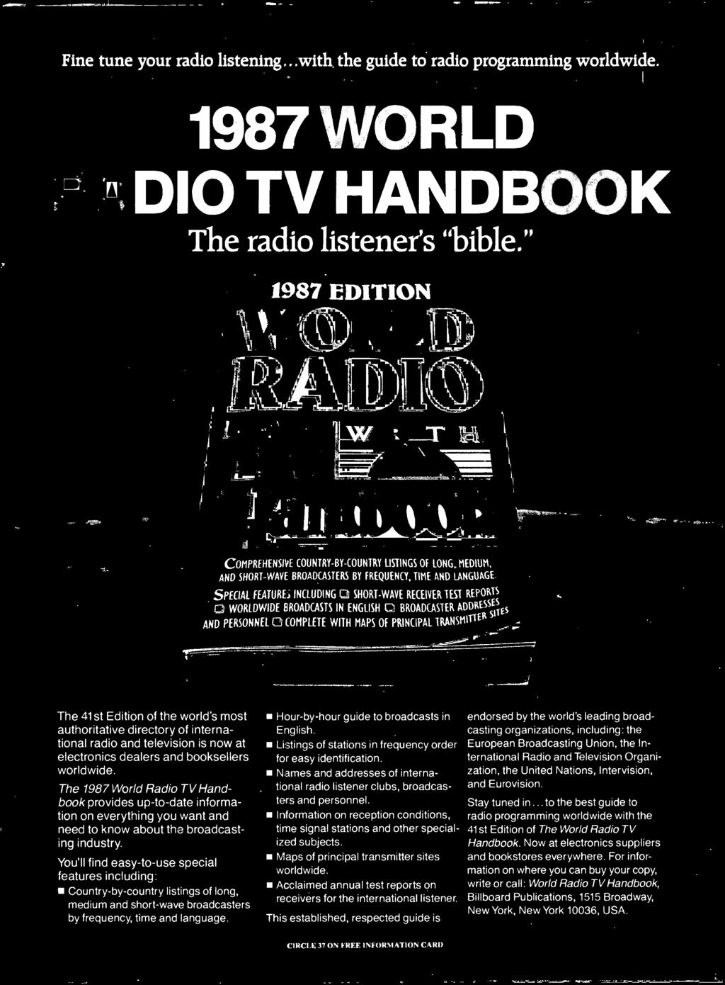 Monitoring Scanner And Shortwave The Thrill Excitement Of Tv Distribution System Diagram Moreover Winnebago Wiring Diagrams 1987 World Radio Handbook Provides Up To Date Information On