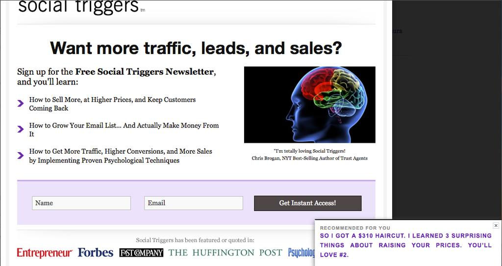 For more traditional pop ups where they pop up in the middle of the page, take a look at the two examples here: Derek Halpern of Social Triggers.