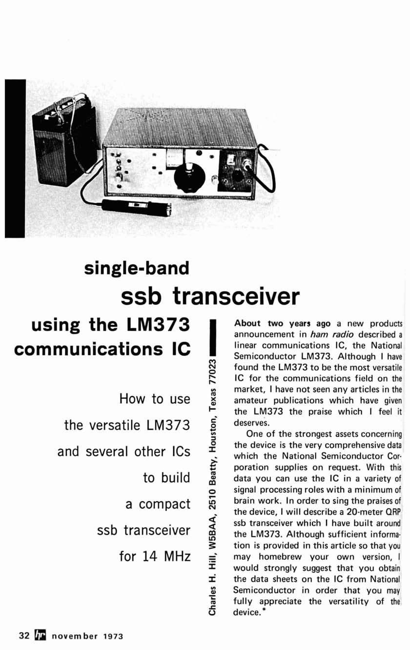 Ssb Transceiver Single Band Using The Lm373 Communications Ic Pdf Small Power Narrowband Fm Receiving Integrated Circuit From How To Use Versatile