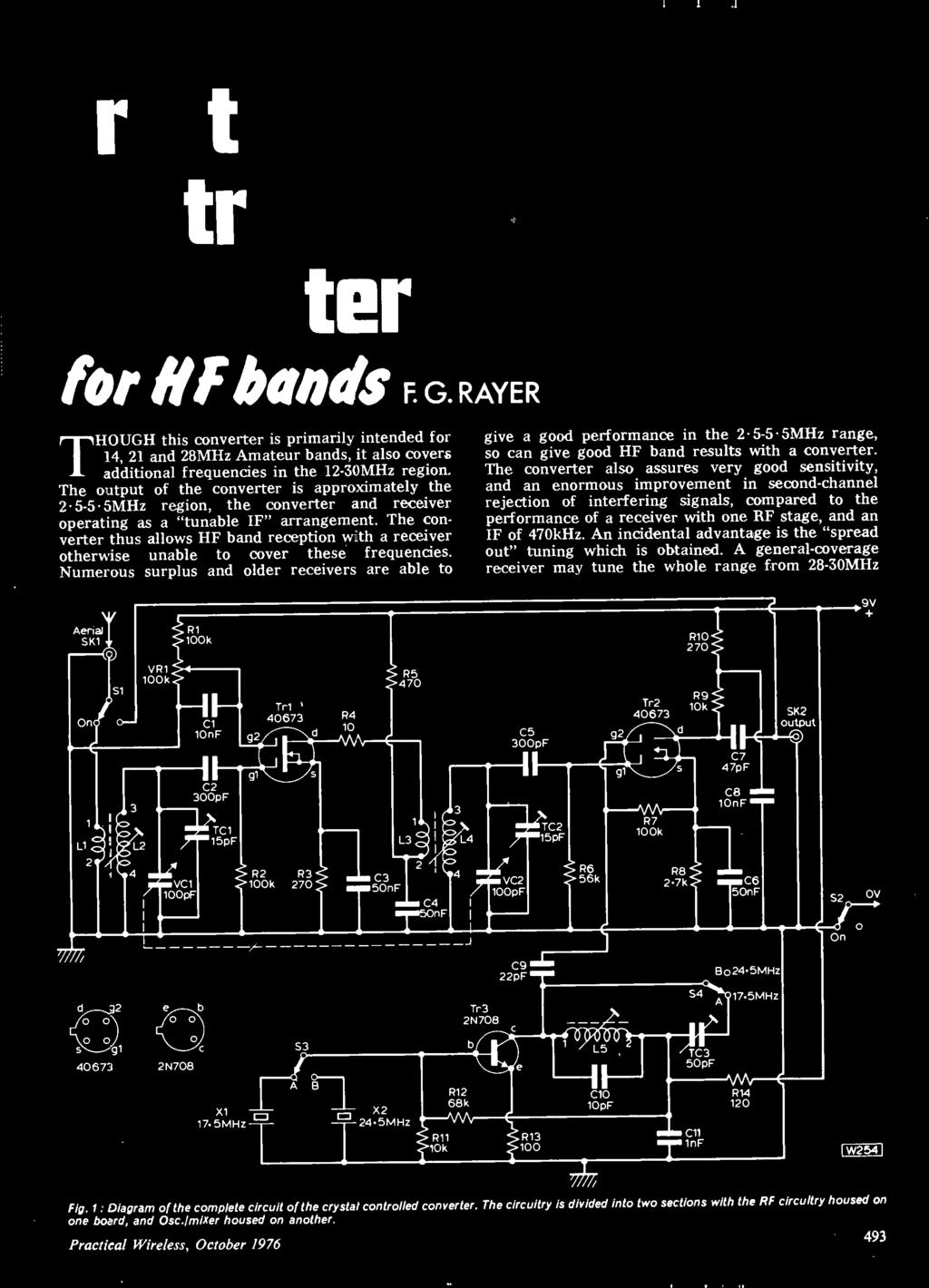 October 40p Project Sheetproject Heall 1rrim Electronics Fl Tone Control Circuit Diagrams Using Ic Tl082 The Converter Thus Allows Hf Band Reception With A Receiver Otherwise Unable To Cover These Frequencies