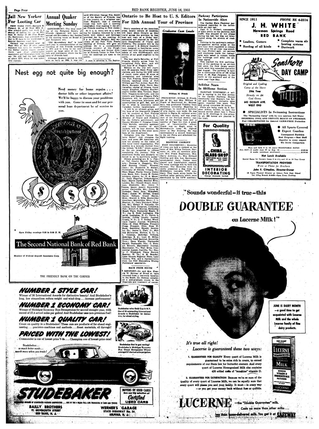 Red Bank Register For All Departments Call Pdf Heater And Defroster Wiring Diagram 1954 Studebaker Champion Commander Page Four June 16 1955 Ijail New Yorker Looting