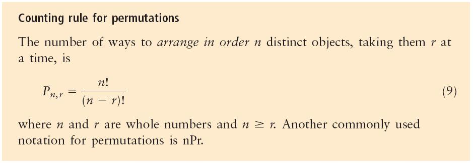 Permutations - arrangements are often called permutations, the number of permutations of n distinct things taken r at a time is denoted np r Since the number of objects being arranged cannot exceed